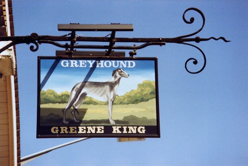 Sign of The Greyhound pub ixworth